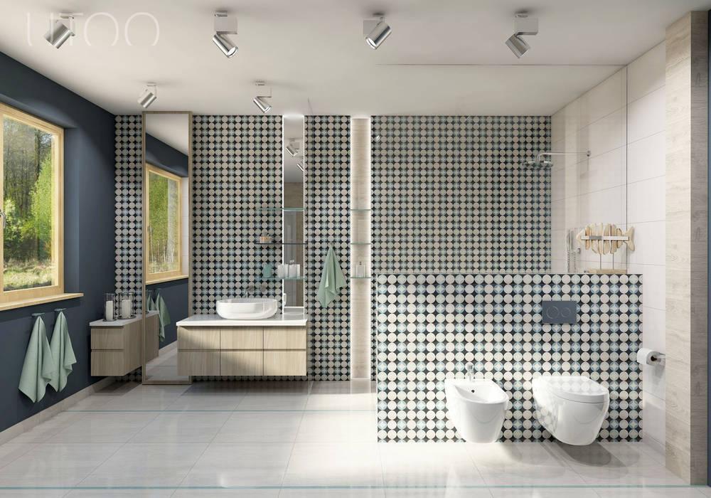 Nowoczesny vintage UTOO-Pracownia Architektury Wnętrz i Krajobrazu Nowoczesna łazienka