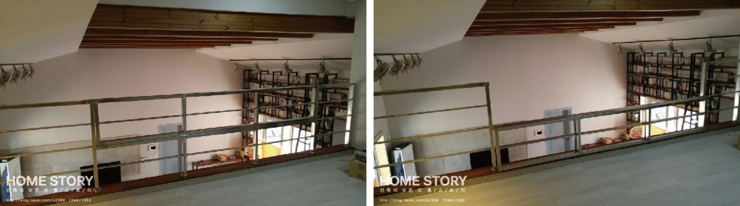 │오픈된 다락방에 시공된 난간: (주)홈스토리의  침실