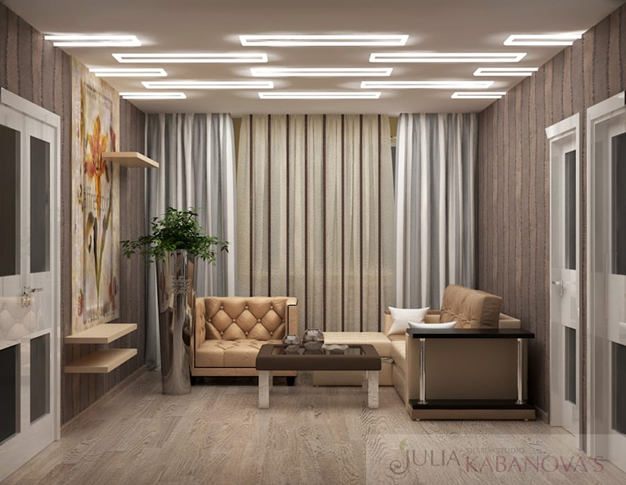 Salas de estilo moderno de JULIA KABANOVA's DESIGN STUDIO Moderno