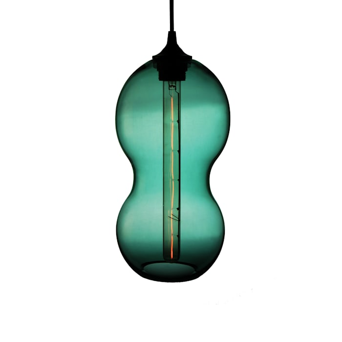 Cacahuate Turquesa  - fondo blanco: Salas de estilo moderno por Luminosa ™