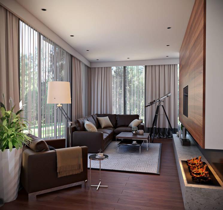 Interieur living: Vrijstaand woonhuis voor Elisabeth & Hugo:   door Archivice Architektenburo