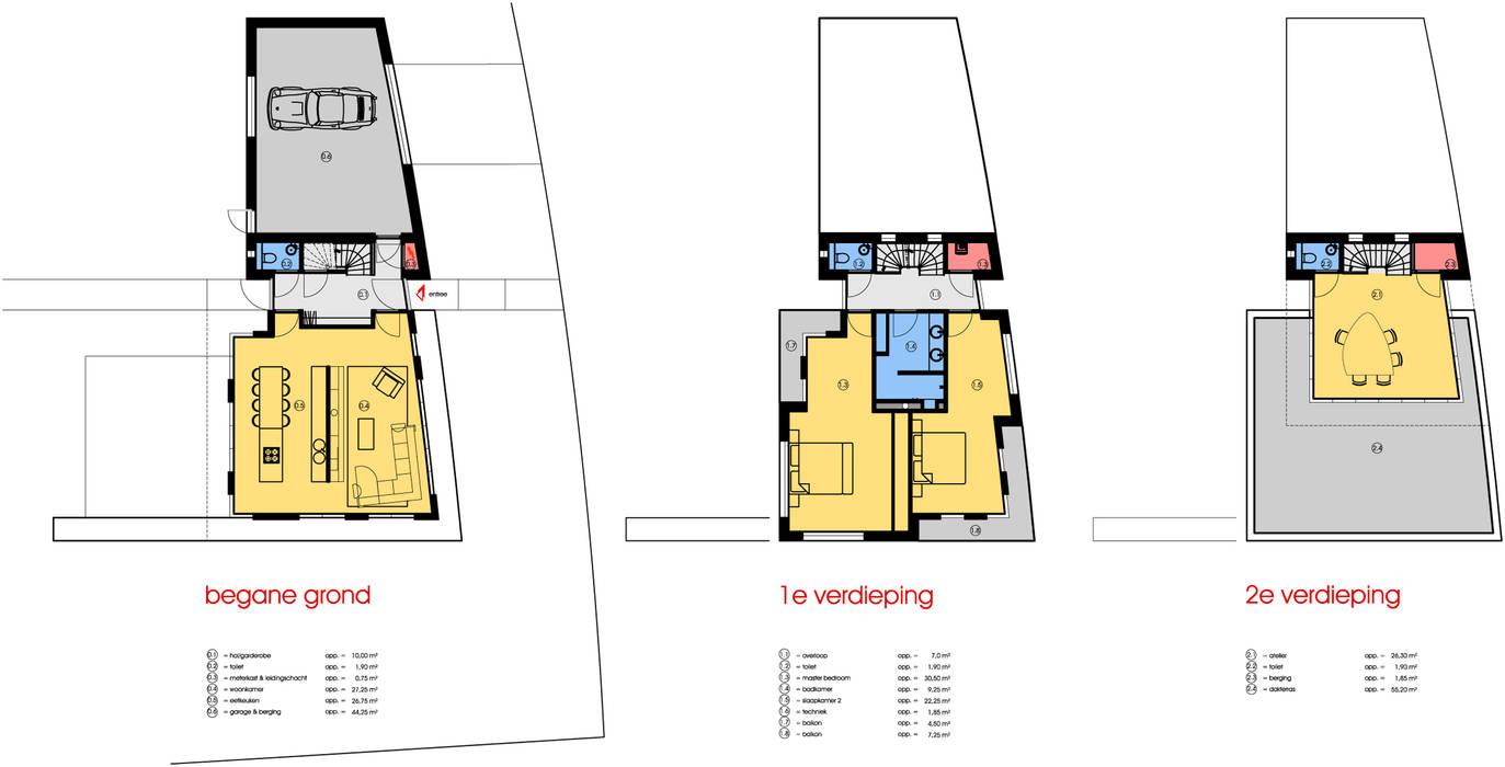 Plattegronden: Vrijstaand woonhuis voor Elisabeth & Hugo Archivice Architektenburo