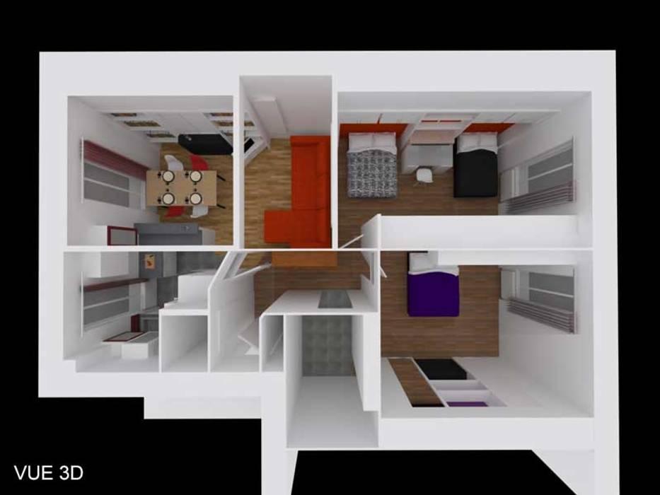 3D aérienne du projet de l'appartement: Salon de style de style Colonial par Pauline VIDAL - Architecte d'Intérieur CFAI