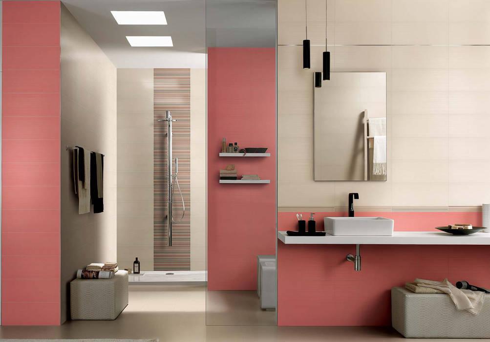 Azulejos de baño en varios tonos y formatos para dar un aire nuevo y moderno a nuestra decoración Azulejos Peña s.l. Baños de estilo moderno Azulejos Multicolor