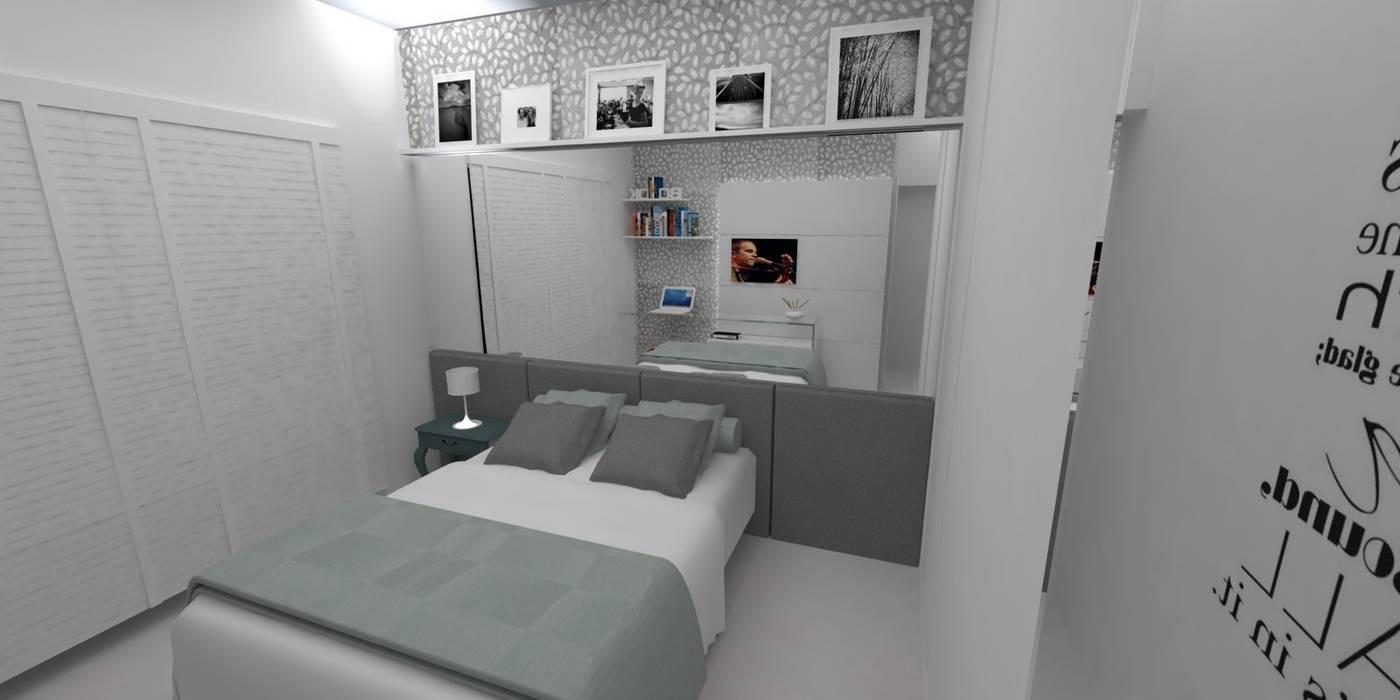 LMT Arquitetura Dormitorios de estilo moderno Vidrio Gris