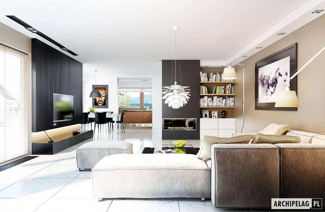 Pracownia Projektowa ARCHIPELAG Moderne Wohnzimmer
