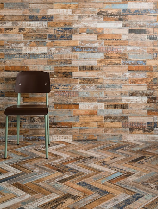 Quayside Mix Distressed Wood Effect Tiles: rustic  by The London Tile Co., Rustic