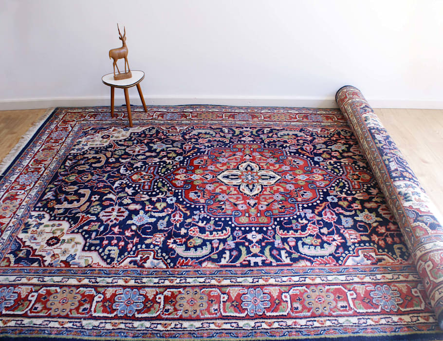 Perzisch Tapijt Blauw : Handgeknoopt blauw rood perzisch tapijt. vintage wollen kleed