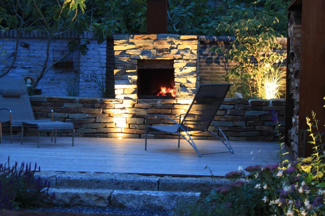 Open Haard Tuin : Openhaard in natuursteen flagstones tuin door hoveniersbedrijf