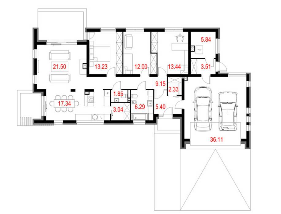 Projekty domów - House 04: styl , w kategorii  zaprojektowany przez Majchrzak Pracownia Projektowa,Nowoczesny