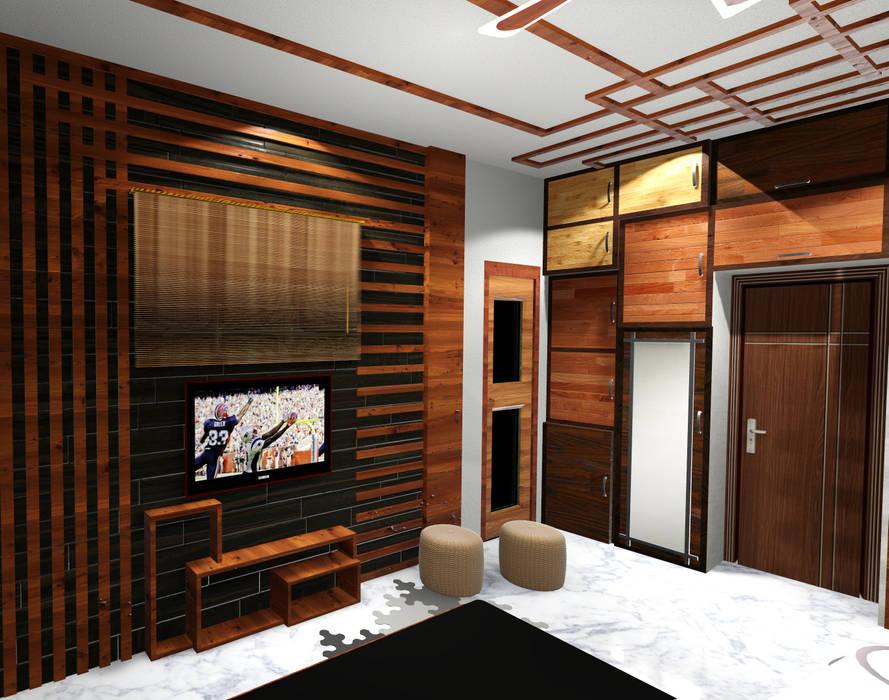 room 1 tv view: modern Bedroom by Creazione Interiors