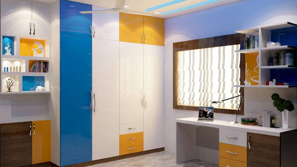Room 4 wardrobe view: modern Bedroom by Creazione Interiors