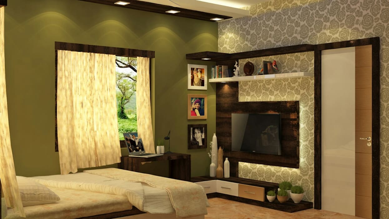 Room 5 tv view Creazione Interiors Modern style bedroom