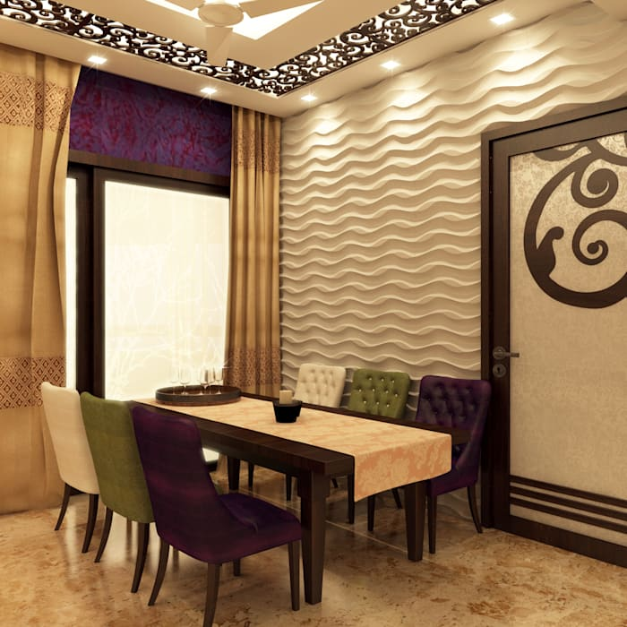 Dining area :  Dining room by Creazione Interiors