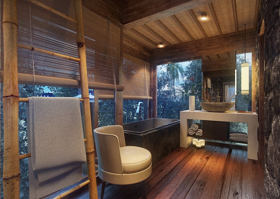 Banheiro Hospede homify Banheiros rústicos Madeira Efeito de madeira
