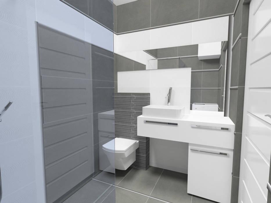 Mała łazienka Duże Płytki Styl W Kategorii łazienka