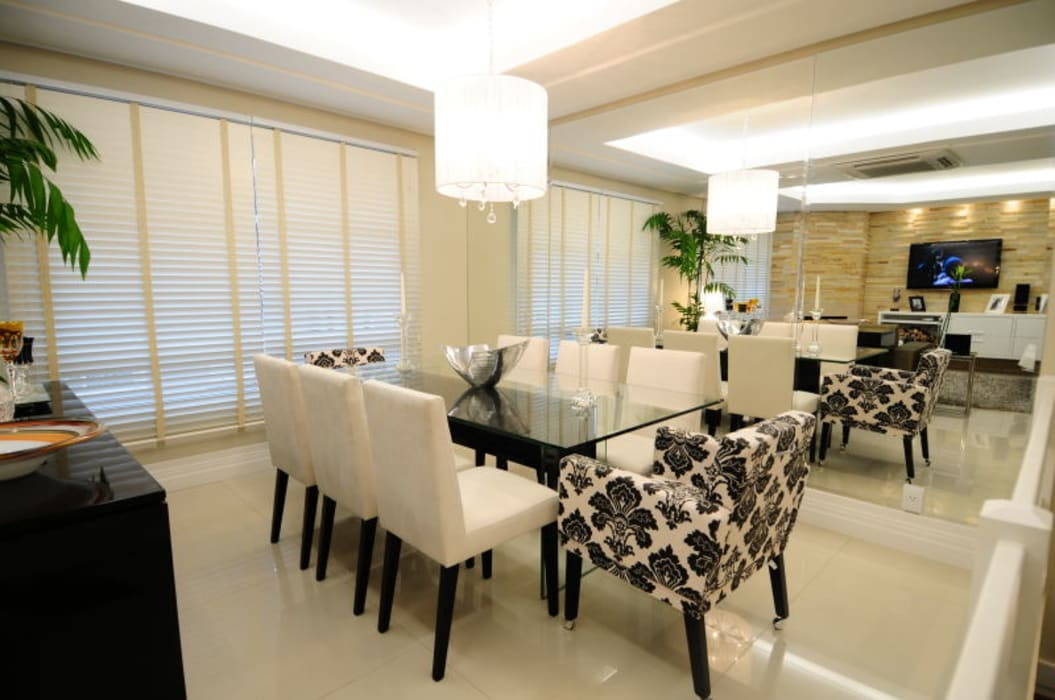 Sala Estar /Jantar Residência Angela Ognibeni Arquitetura e Interiores Salas de jantar modernas