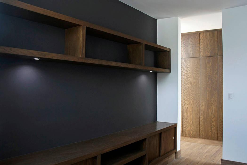 Sala de TV Salas multimedia modernas de Narda Davila arquitectura Moderno Madera Acabado en madera