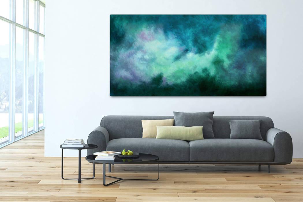acryl gemälde 'tanz der galaxien' 200x100cm für wohnzimmer: moderne, Design ideen