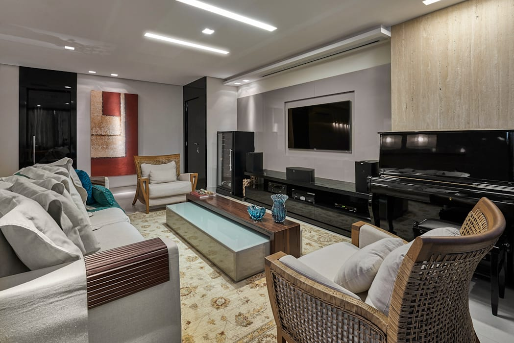 Apartamento MW Salas de estar modernas por Isabela Canaan Arquitetos e Associados Moderno
