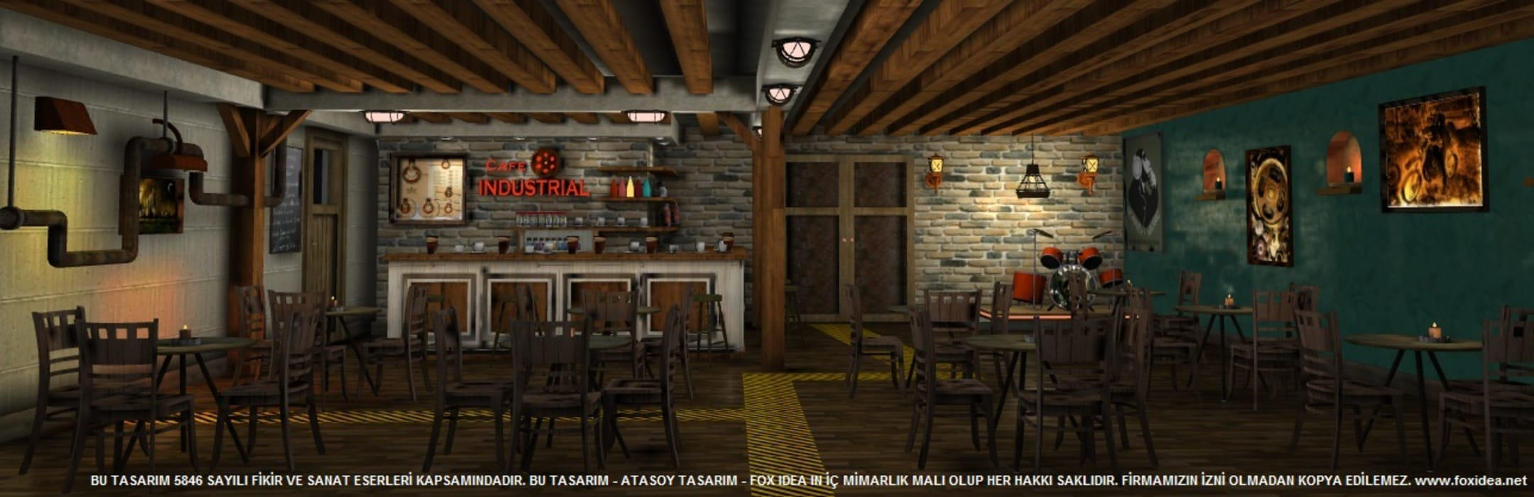 CAFE INDUSTRIAL Endüstriyel Duvar & Zemin FOX IDEA Endüstriyel