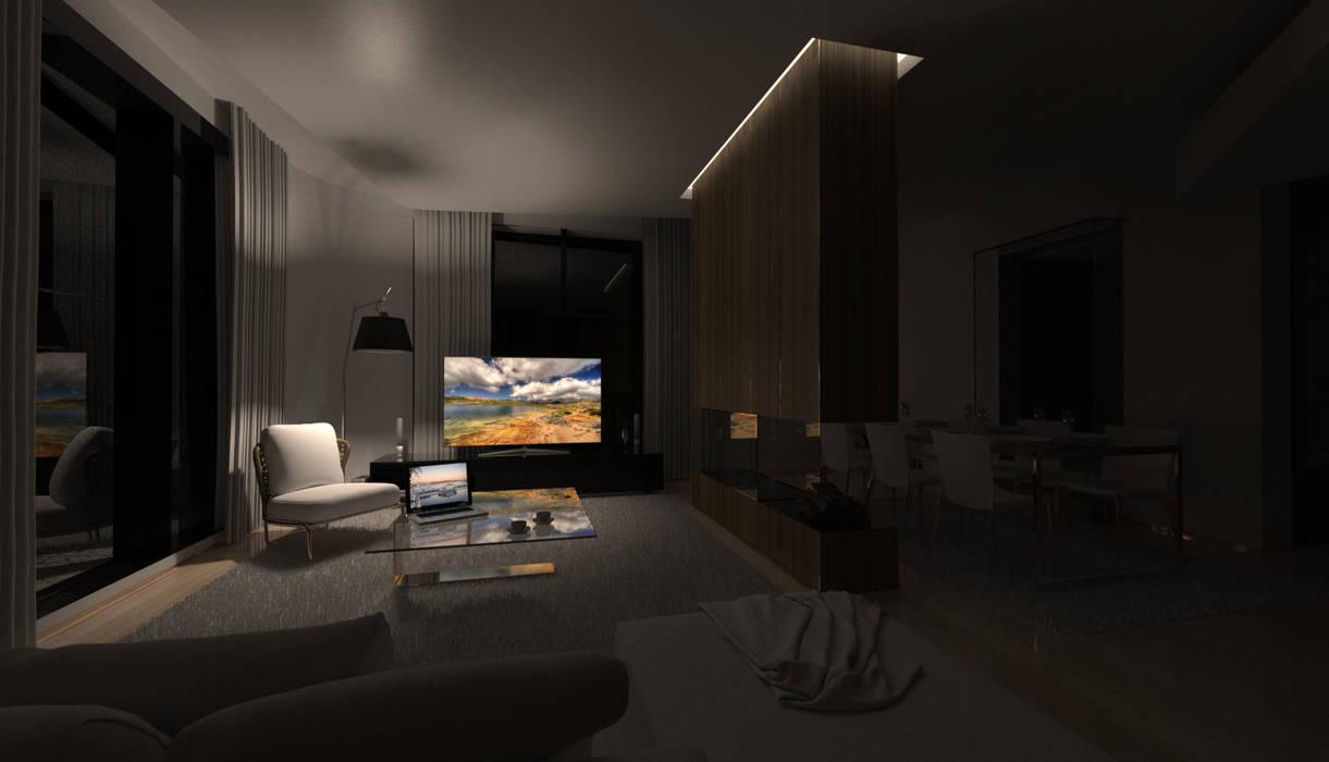 Habitação Unifamiliar Isolada T4 - o Tempo e a Sensação Salas de estar modernas por Office of Feeling Architecture, Lda Moderno