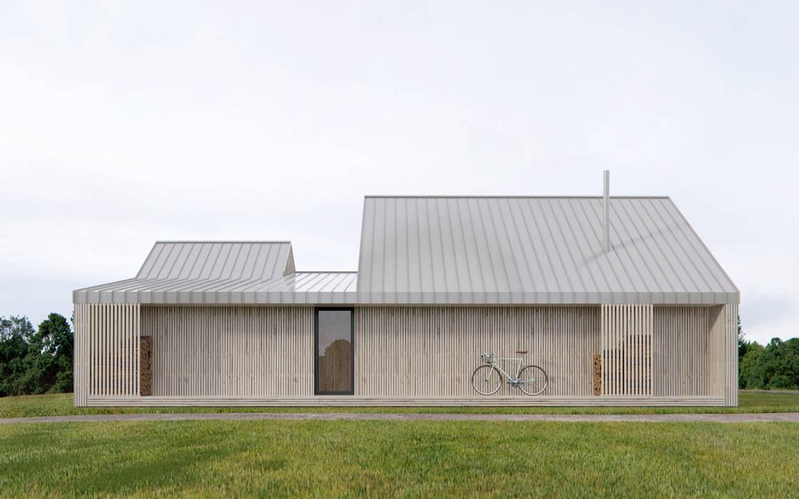 PLUSMODUL: Сборные дома в . Автор – INT2architecture, Скандинавский Дерево Эффект древесины