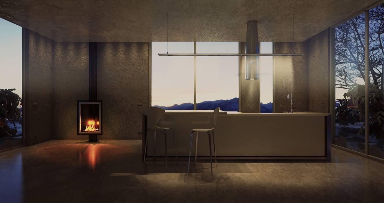 Kitchen island: Cucina in stile in stile Minimalista di pixelgrafica