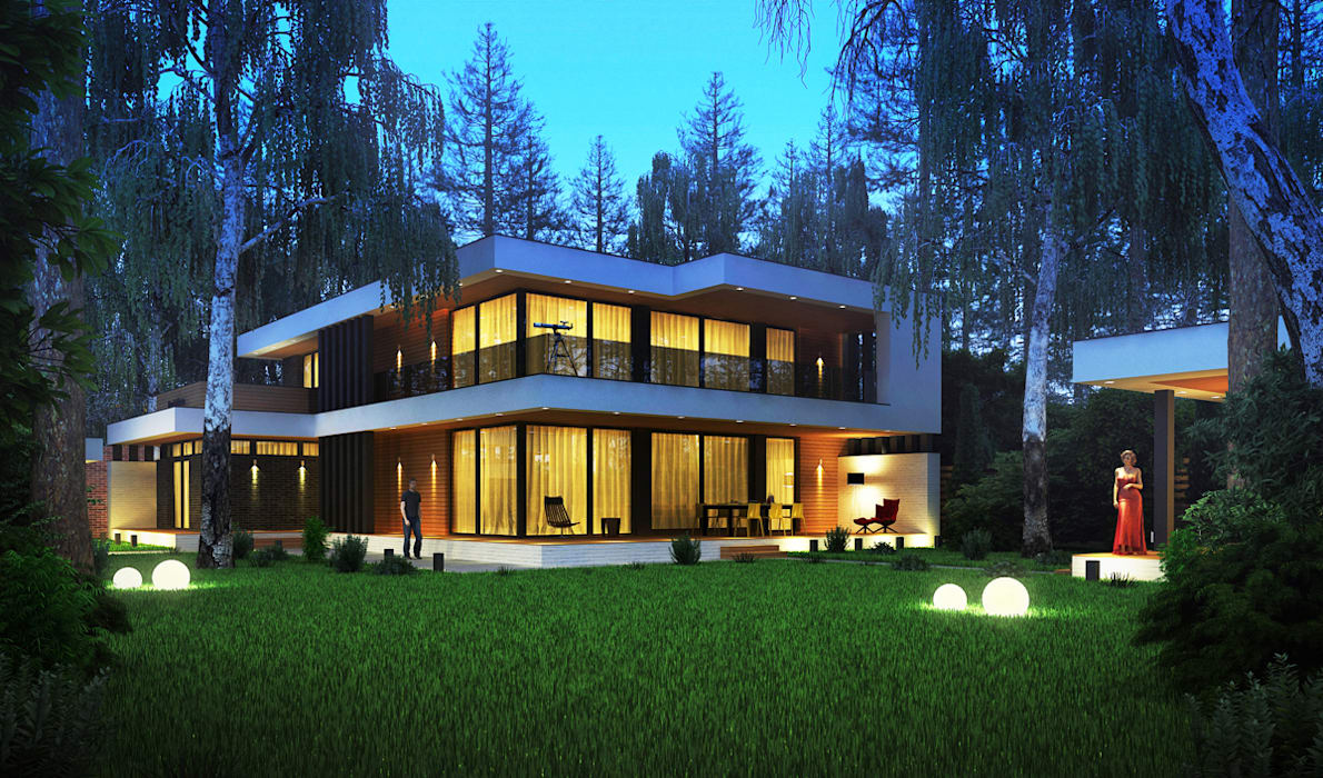 Проект современного частного дома в Казани: Дома в . Автор – Sboev3_Architect, Модерн