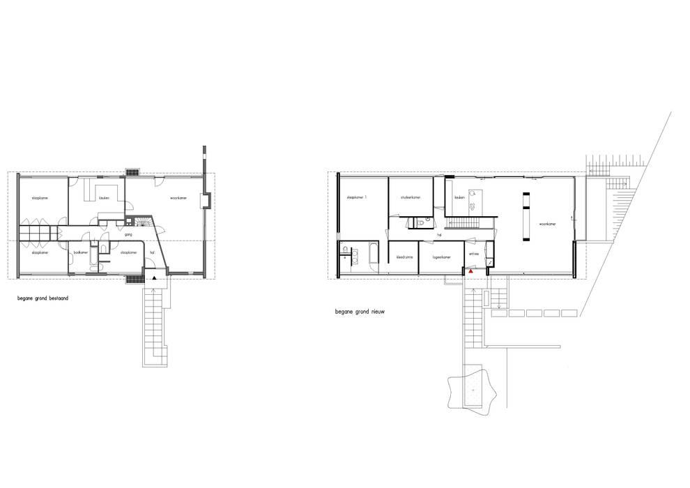 Plattegronden: bestaande begane grond & nieuwe begane grond Moderne huizen van Van de Looi en Jacobs Architecten Modern