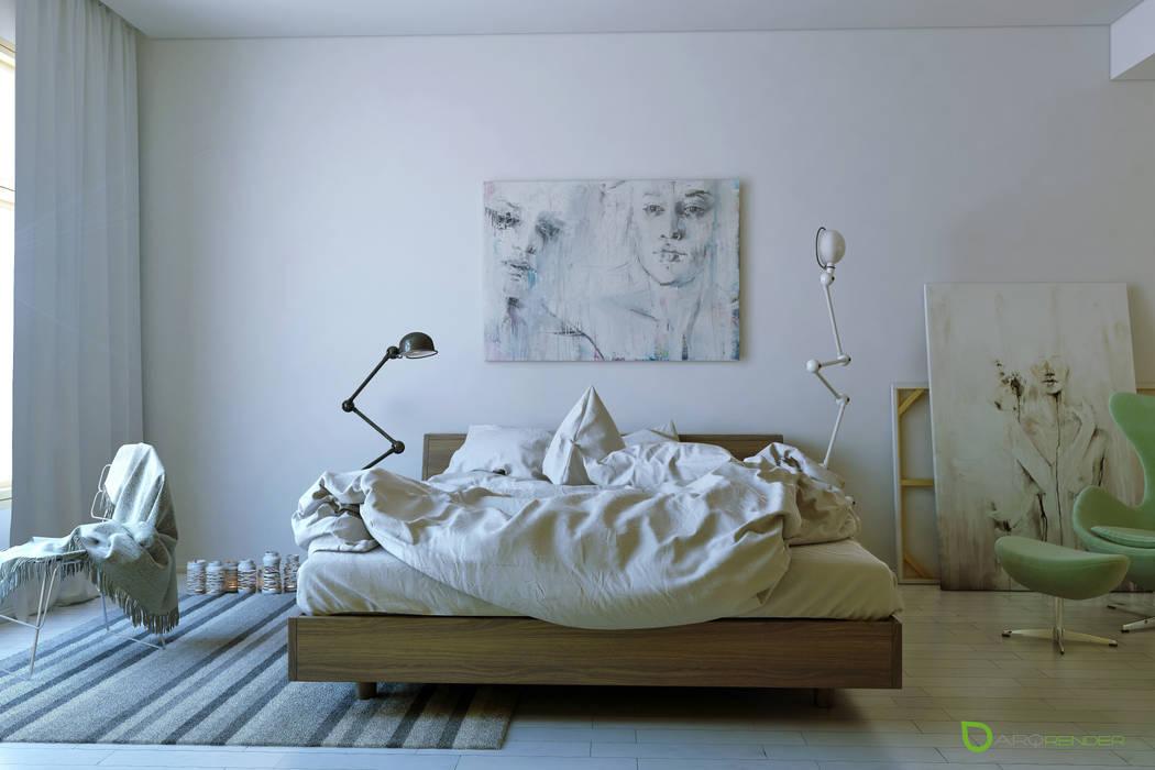The Bed ArqRender Dormitorios de estilo moderno Blanco