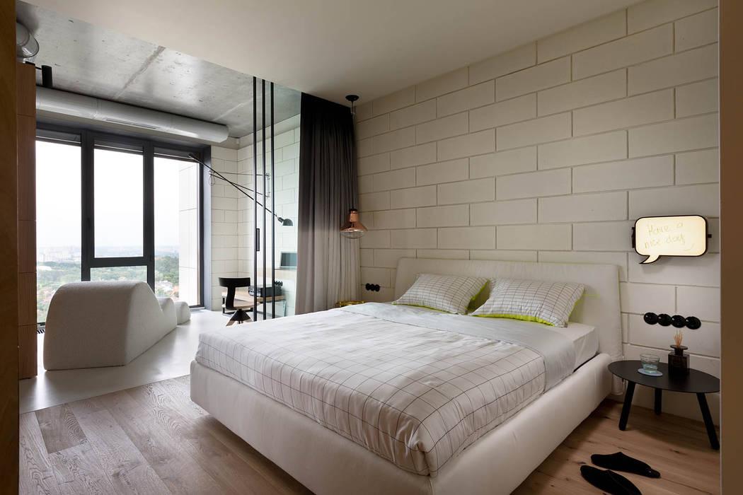 NPL. Penthouse Chambre industrielle par Olga Akulova DESIGN Industriel