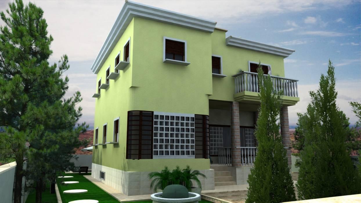 Infografía. Exterior y Fachada. Vivienda Unifamiliar en el Mahimón. IND-INGENIEROS Casas de estilo moderno