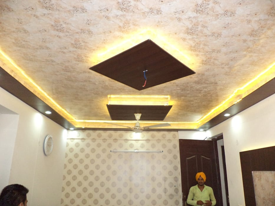 False Ceiling Design And Wallpaper Living Room By Mohali Interiors
