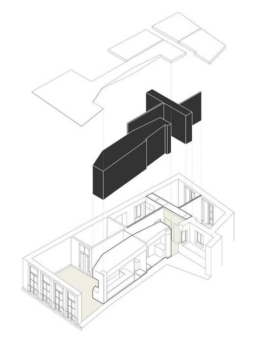 AXONOMETRIA EXPLODIDA Paredes e pisos minimalistas por COLECTIVO arquitectos Minimalista