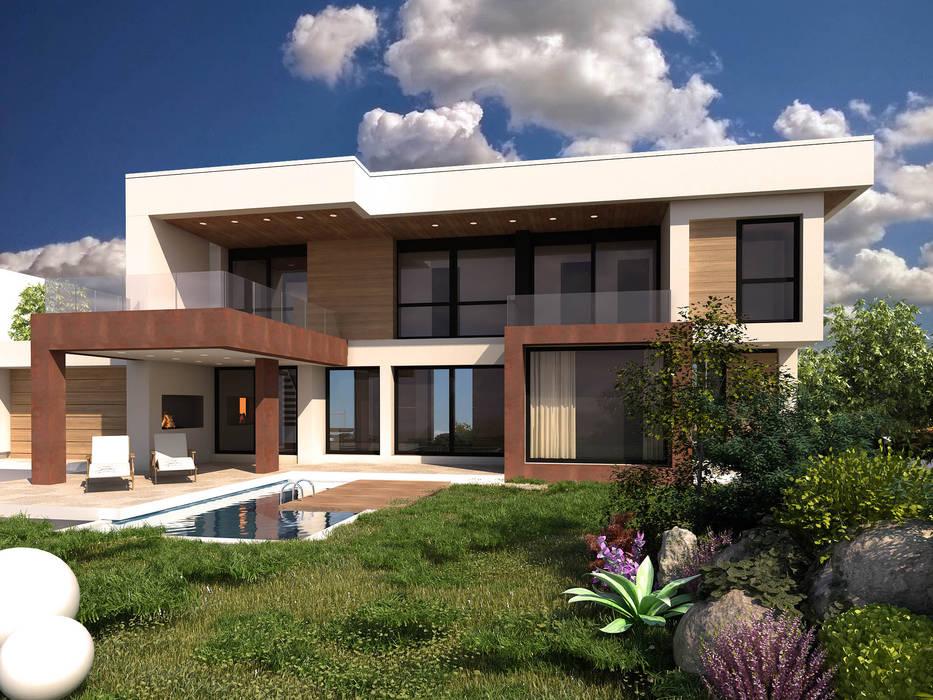 Casa Stile Moderno Esterni : Rendering interni ed esterni case in stile in stile moderno di
