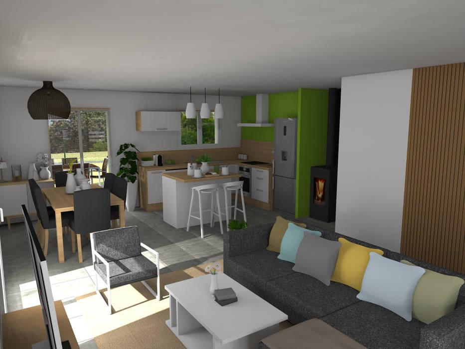 Maison neuve à Saint Jean d'Illac: Salon de style de style Moderne par Sandia Design
