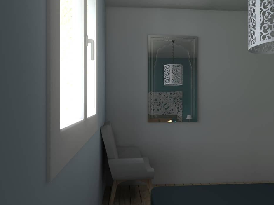 Maison neuve à Saint Jean d'Illac: Chambre de style  par Sandia Design