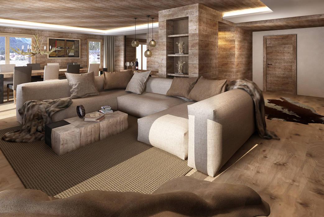 Wohnzimmer im Landhausstil von Avogadri simone archi3d Landhaus