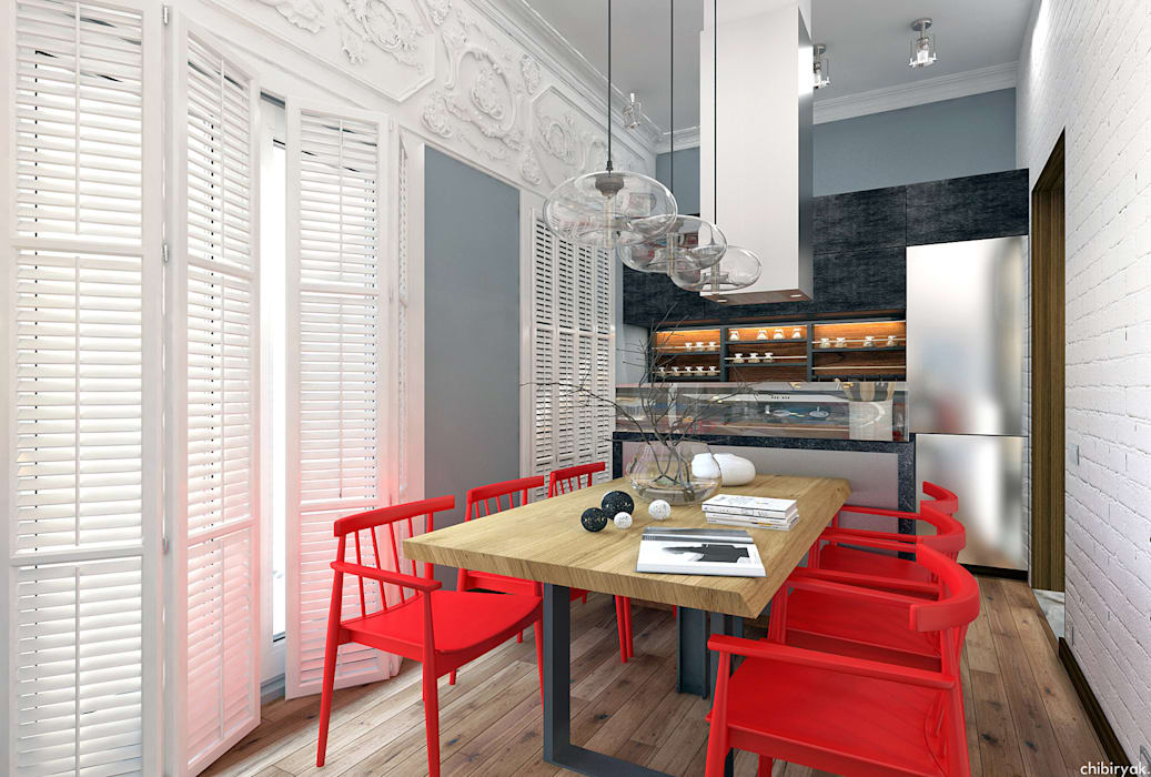 1+1 studio Eclectic style living room