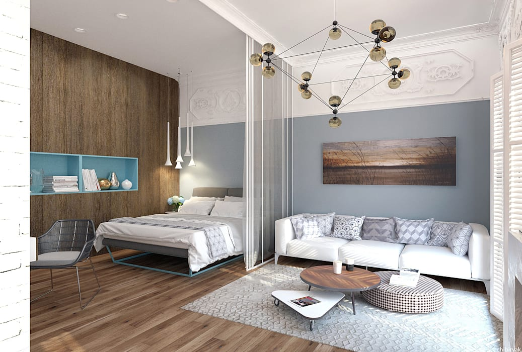 Квартира на Кирочной: Спальни в . Автор – 1+1 studio, Эклектичный
