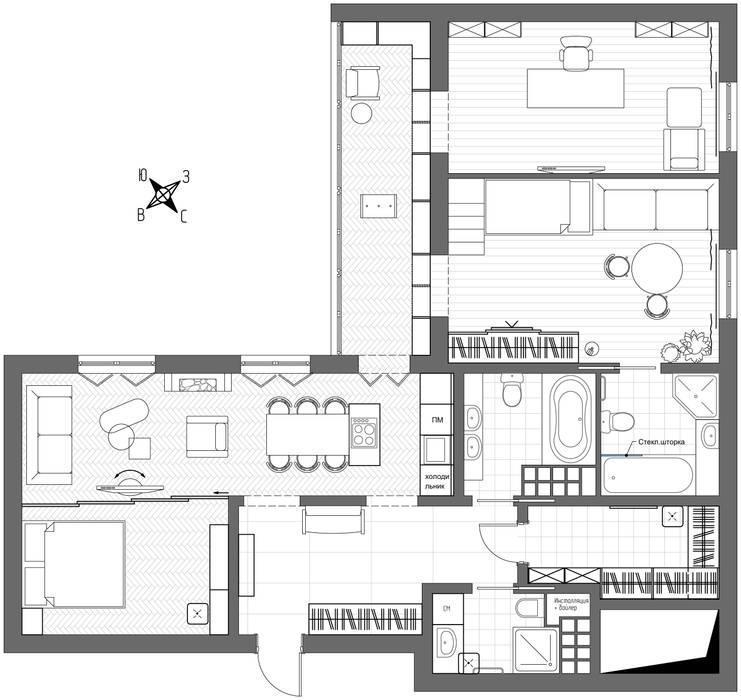 1+1 studio Eclectic style walls & floors