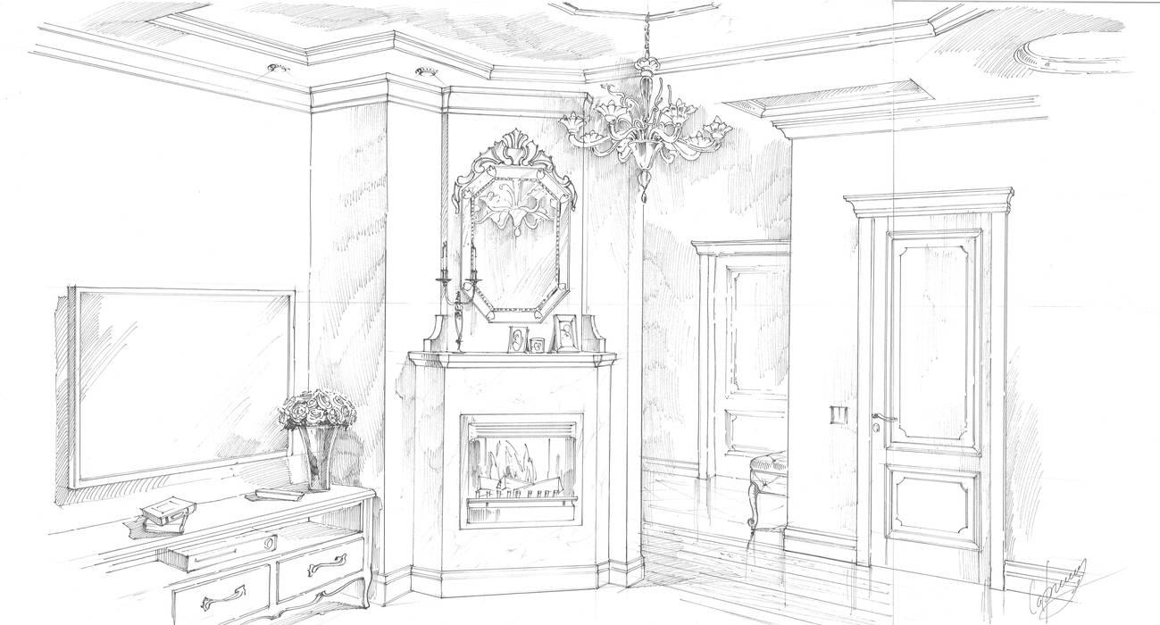 Квартира в ЖК «Сколково». Гостиная в классическом стиле от Архитектурно-дизайнерская компания Сергея Саргина Классический