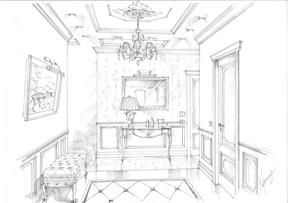 Квартира в ЖК «Сколково». Коридор, прихожая и лестница в классическом стиле от Архитектурно-дизайнерская компания Сергея Саргина Классический
