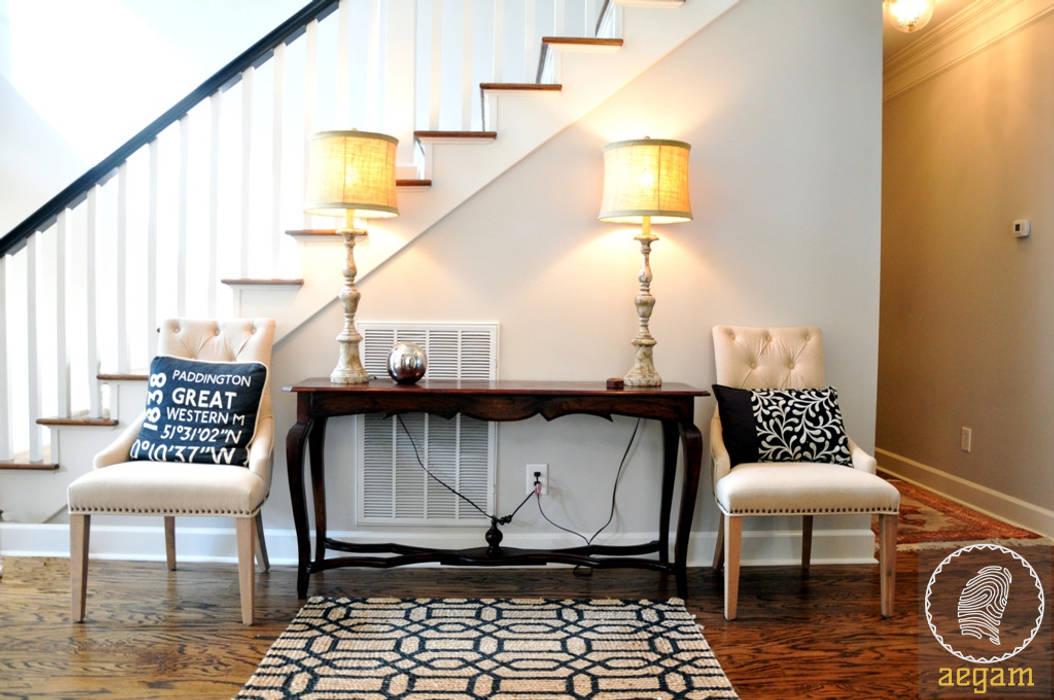 "Modern ""Classic White"" themed Home Modern corridor, hallway & stairs by Aegam Modern"