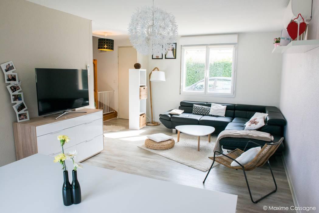Une pièce à vivre aux airs Scandinaves: Salon de style de style Scandinave par E/P DESIGN - Emilie Peyrille