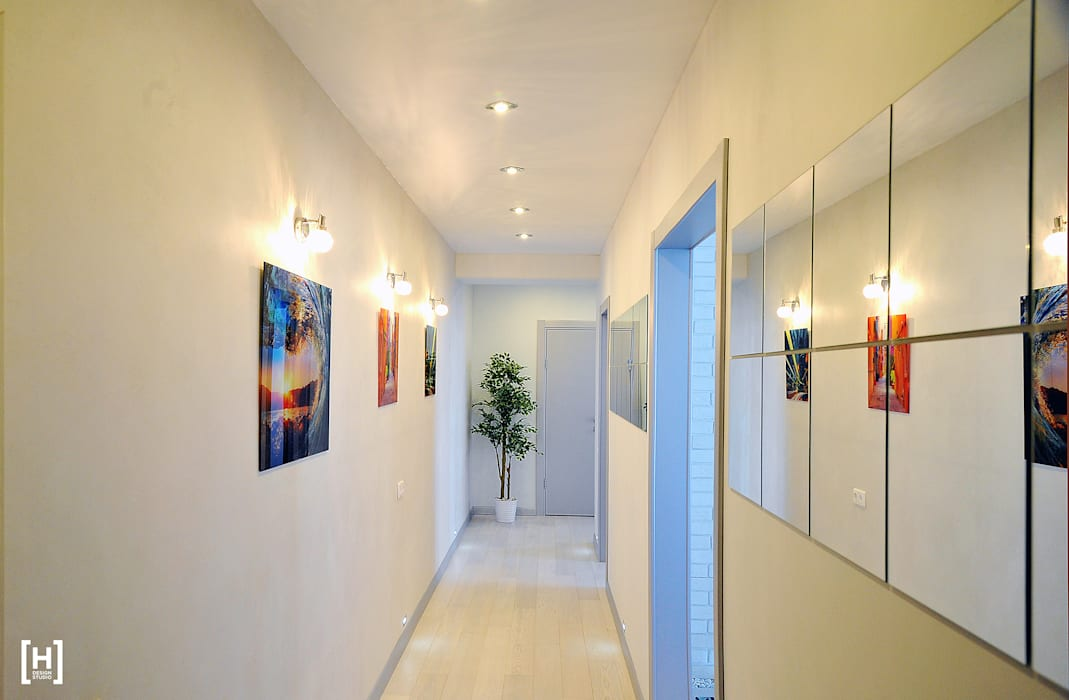 Corredores, halls e escadas minimalistas por Hunter design Minimalista Fibra natural Bege