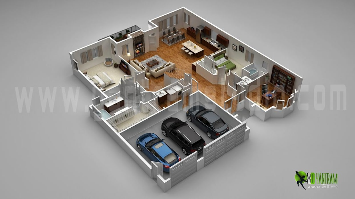 3D Luxury Floor Plans Design For Residential Home by Yantram Architectural Design Studio