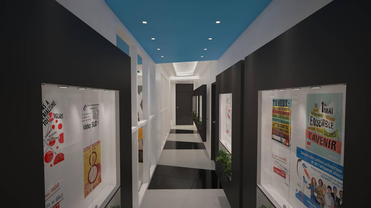 UN COULOIR DESIGN ET GRAPHIQUE: Bureaux de style  par DEYDIER WILFRID ARCHITECTURE