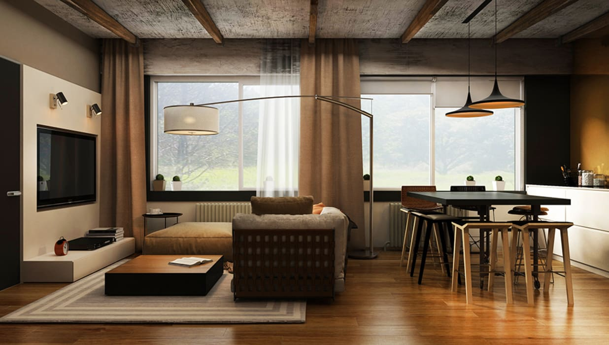 Industrial style living room by he.d group Industrial Wood Wood effect
